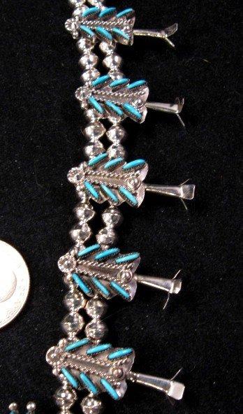 Image 3 of Zuni Turquoise Needlepoint Silver Squash Blossom Necklace Earring Set, Eva Wyaco