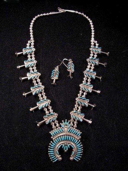 Image 4 of Zuni Turquoise Needlepoint Silver Squash Blossom Necklace Earring Set, Eva Wyaco