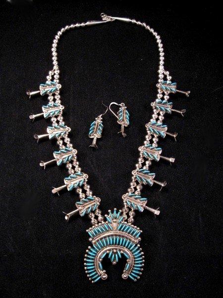 Image 4 of Zuni Turquoise Needlepoint Silver Squash Blossom Necklace Earring Set, Eva Wyaco