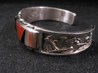 Image 3 of Don Dewa Zuni Inlay Sunface Reversible Spinner Bracelet