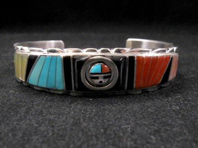 Image 4 of Don Dewa Zuni Inlay Sunface Reversible Spinner Bracelet