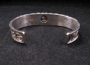 Image 5 of Don Dewa Zuni Inlay Sunface Reversible Spinner Bracelet