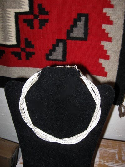 Image 7 of Heavy Navajo Woven Sterling Silver Rope Necklace 16'', Travis Teller