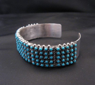 Image 3 of Zuni 5-Row 150 Snake Eye Turquoise Silver Cuff Bracelet, April Haloo
