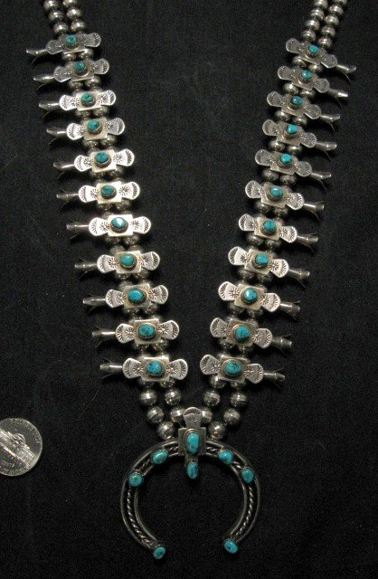 Image 4 of Vintage Old Pawn Box Bow Squash Blossom Necklace (Navajo, Willie Haley)