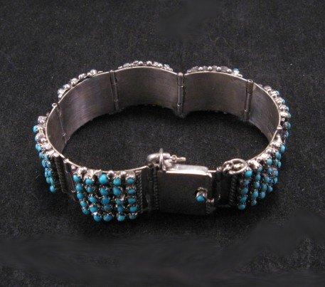 Image 3 of Zuni 5 Row 175 Turquoise Snake Eye Silver Link Bracelet, Peter & Vivian Haloo
