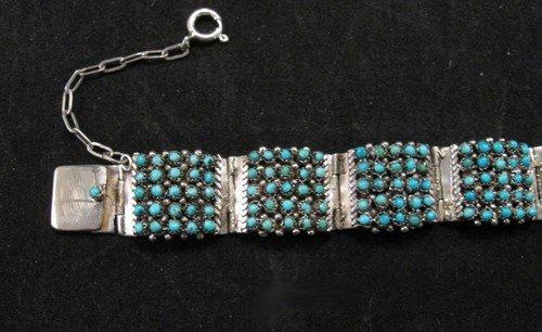 Image 4 of Zuni 5 Row 175 Turquoise Snake Eye Silver Link Bracelet, Peter & Vivian Haloo