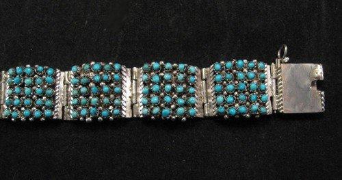 Image 5 of Zuni 5 Row 175 Turquoise Snake Eye Silver Link Bracelet, Peter & Vivian Haloo