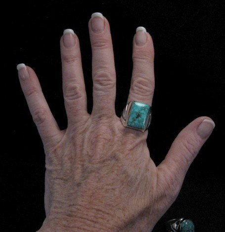Image 3 of Navajo Turquoise Sterling Silver Ring sz11-1/4, Orville Tsinnie