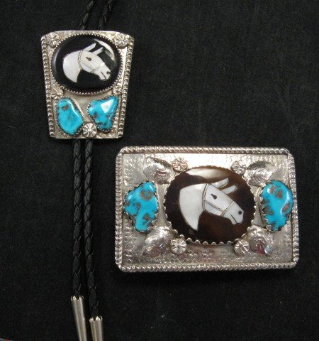 Image 3 of Isabelle Simplicio * Zuni * Turquoise Horse Head Inlay Turquoise Nugget Buckle