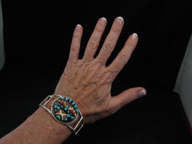 Image 3 of Virginia Quam Zuni Turquoise Multistone Silver Bracelet