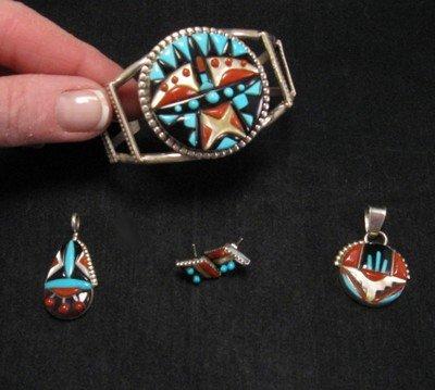 Image 4 of Virginia Quam Zuni Turquoise Multistone Silver Bracelet