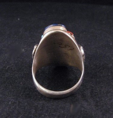Image 3 of Zuni Native American Coral, Turquoise & Lapis Silver Ring sz11-1/2