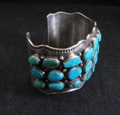Image 3 of Morenci Turquoise Sterling Silver Cuff Bracelet, Navajo Etta Endito