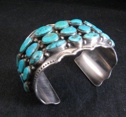Image 4 of Morenci Turquoise Sterling Silver Cuff Bracelet, Navajo Etta Endito