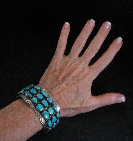 Image 5 of Morenci Turquoise Sterling Silver Cuff Bracelet, Navajo Etta Endito