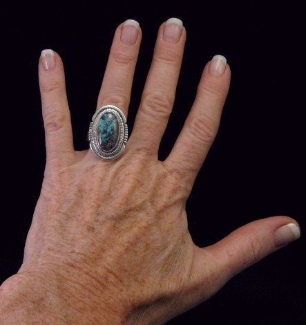 Image 3 of Walter Vandever ~ Apache Blue Turquoise Silver Ring sz7