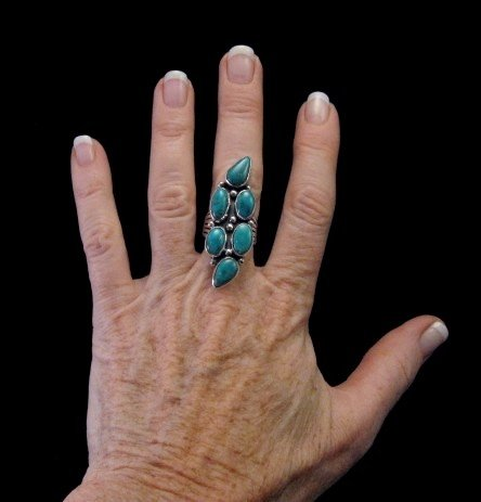 Image 3 of Kathy Yazzie ~ Navajo ~ Turquoise Silver Ring sz8