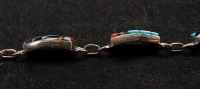 Image 3 of Delicate Zuni Multigem Inlaid link Bracelet, Clarence Booqua