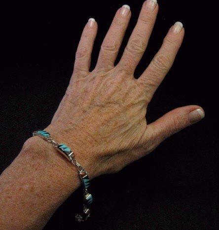 Image 4 of Delicate Zuni Multigem Inlaid link Bracelet, Clarence Booqua