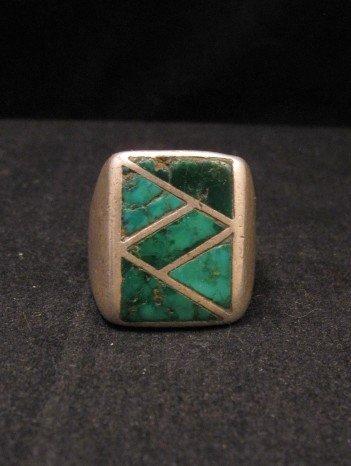 Image 4 of Old Vintage Pawn Zuni Turquoise Flush Inlay Ring sz10-1/2