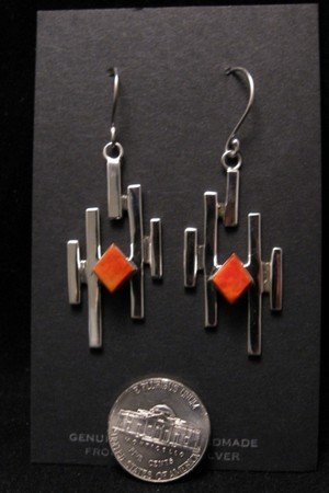 Image 3 of Contemporary Navajo/Dine Handmade Silver Earrings, Ronnie Henry
