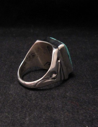Image 4 of Navajo Orville Tsinnie Turquoise Silver Ring sz12