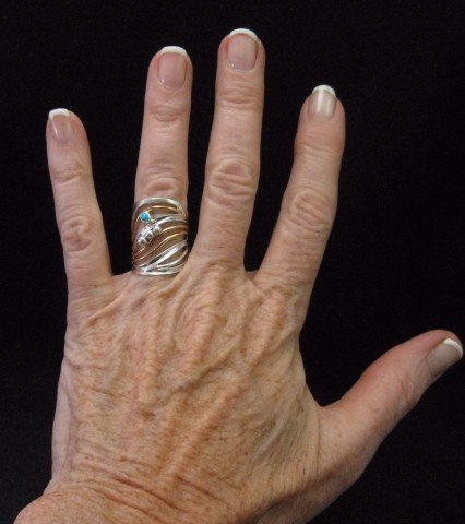 Image 3 of Native American Mixed Metal S/S 12KGF Ring sz6