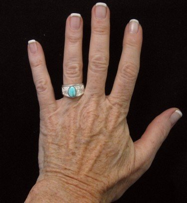 Image 4 of Navajo Ronnie Henry Dry Creek Turquoise Ring, sz6
