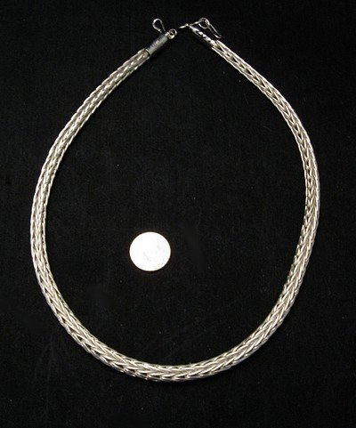 Image 3 of Navajo Woven 18 guage Sterling Silver Rope Necklace 2 lengths, Travis Teller