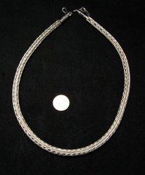 Navajo Woven 18 Gauge Sterling Silver Rope Necklace  Travis Teller - 19inch