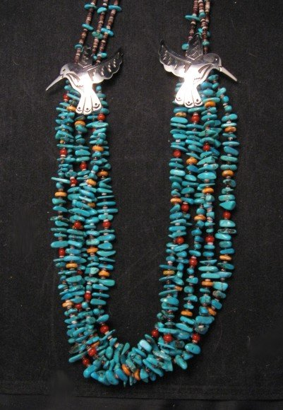 Image 3 of Everett Mary Teller 5 Strand Turquoise & Silver Overlay Hummingbird Necklace