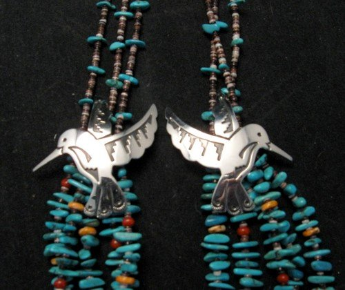 Image 4 of Everett Mary Teller 5 Strand Turquoise & Silver Overlay Hummingbird Necklace