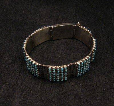Image 3 of Zuni 6-Row 210 Turquoise Snake Eye Sterling Silver Link Bracelet, Steven Haloo