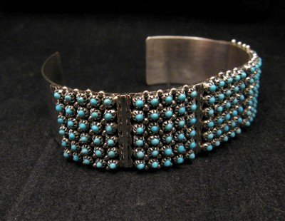 Image 3 of Zuni 6-Row 150 Turquoise Snake Eye Sterling Silver Cuff Bracelet, Steven Haloo