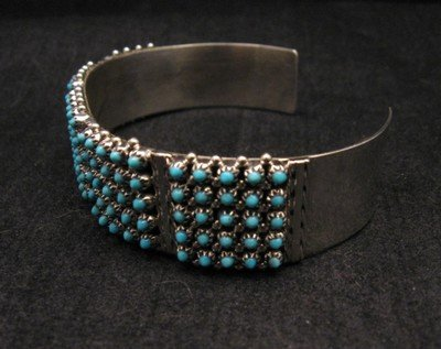 Image 3 of Zuni 5-Row 125 Turquoise Snake Eye Sterling Silver Cuff Bracelet, Steven Haloo