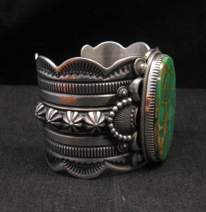 Image 3 of 2-inch Wide Delbert Gordon Navajo Royston Turquoise Silver Bracelet