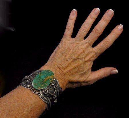 Image 4 of 2-inch Wide Delbert Gordon Navajo Royston Turquoise Silver Bracelet