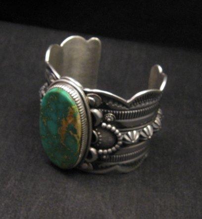 Image 5 of 2-inch Wide Delbert Gordon Navajo Royston Turquoise Silver Bracelet