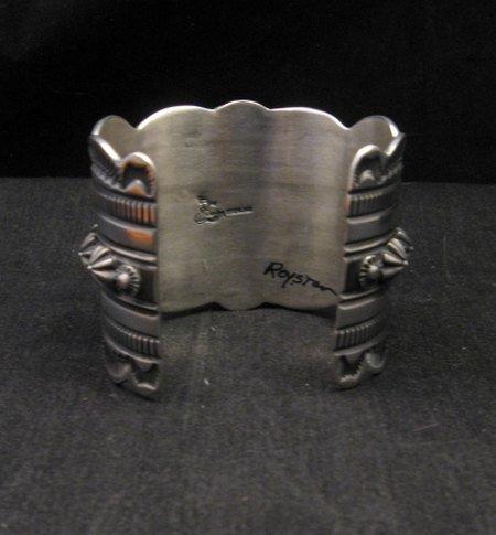 Image 6 of 2-inch Wide Delbert Gordon Navajo Royston Turquoise Silver Bracelet