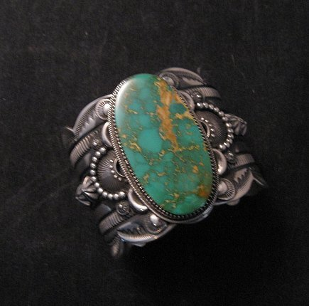 Image 7 of 2-inch Wide Delbert Gordon Navajo Royston Turquoise Silver Bracelet