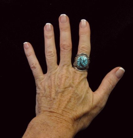 Image 4 of Native American Happy Piasso Turquoise Silver Ring sz10