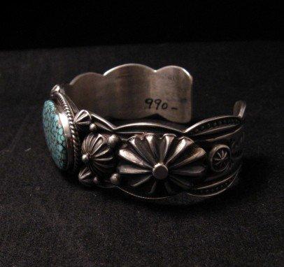 Image 3 of Native American Navajo Turquoise Silver Bracelet ~ Albert Jake