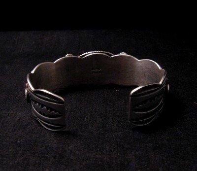 Image 4 of Native American Navajo Turquoise Silver Bracelet ~ Albert Jake