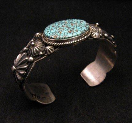 Image 5 of Native American Navajo Turquoise Silver Bracelet ~ Albert Jake