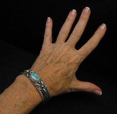 Image 3 of Navajo Andy Cadman Kingman Turquoise Silver Bracelet
