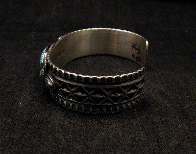 Image 4 of Navajo Andy Cadman Kingman Turquoise Silver Bracelet