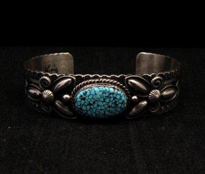 Image 6 of Navajo Andy Cadman Kingman Turquoise Silver Bracelet