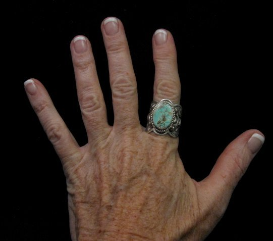 Image 3 of Native American Navajo Turquoise Silver Ring sz11-1/4, Happy Piasso