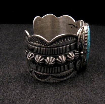 Image 3 of Navajo Indian Delbert Gordon Kingman Turquoise Silver Bracelet